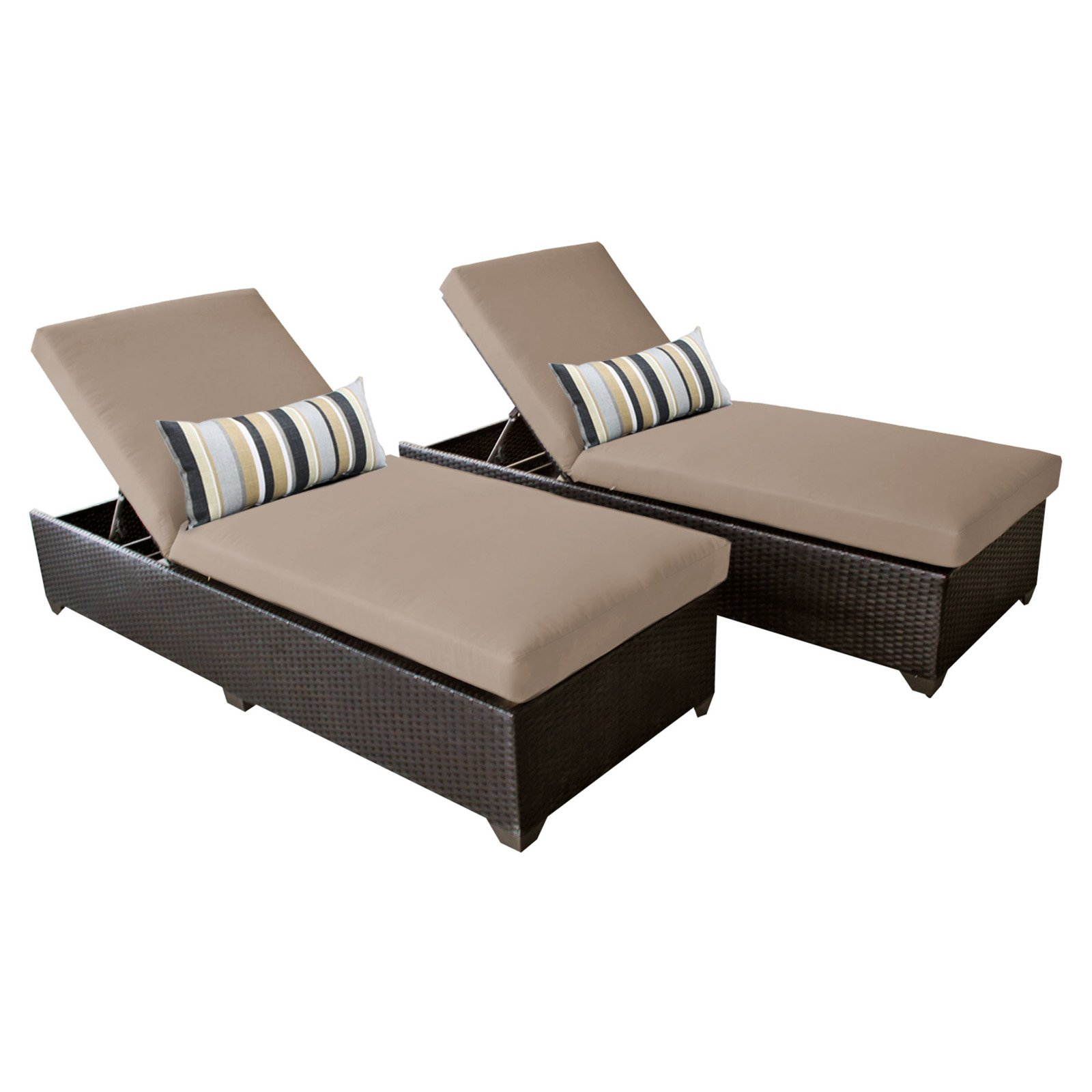 TK Classics Belle Wicker Outdoor Chaise Lounge - Set of 2