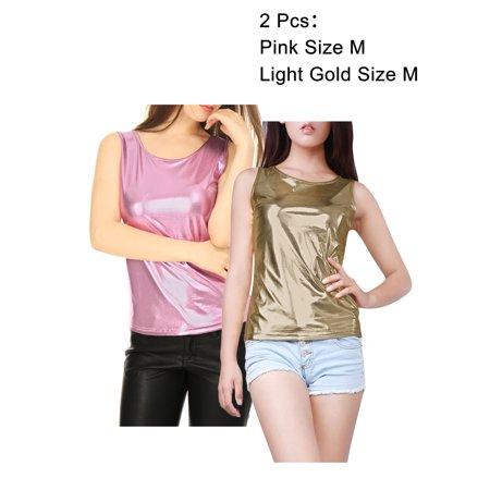 Women's U Neck Solid Slim Fit Stretch Shiny Metallic Tank Top Blouse Shirt (Holz Gold Sonnenbrille)