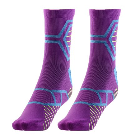 Men Women Exercise Running Cycling Hiking Sports Casual Socks Purple Pair - image 5 of 5