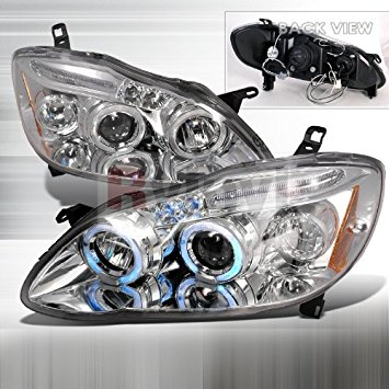 Toyota Corolla 2003 2004 2005 2006 2007 LED Halo Projector Headlights - Chrome