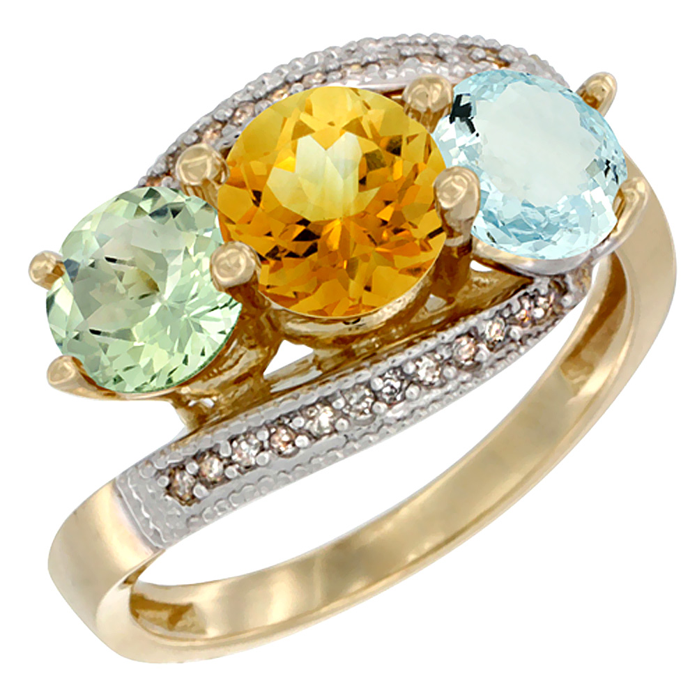 10K Yellow Gold Natural Green Amethyst, Citrine & Aquamarine 3 stone Ring Round 6mm Diamond Accent, sizes 5 10 by WorldJewels