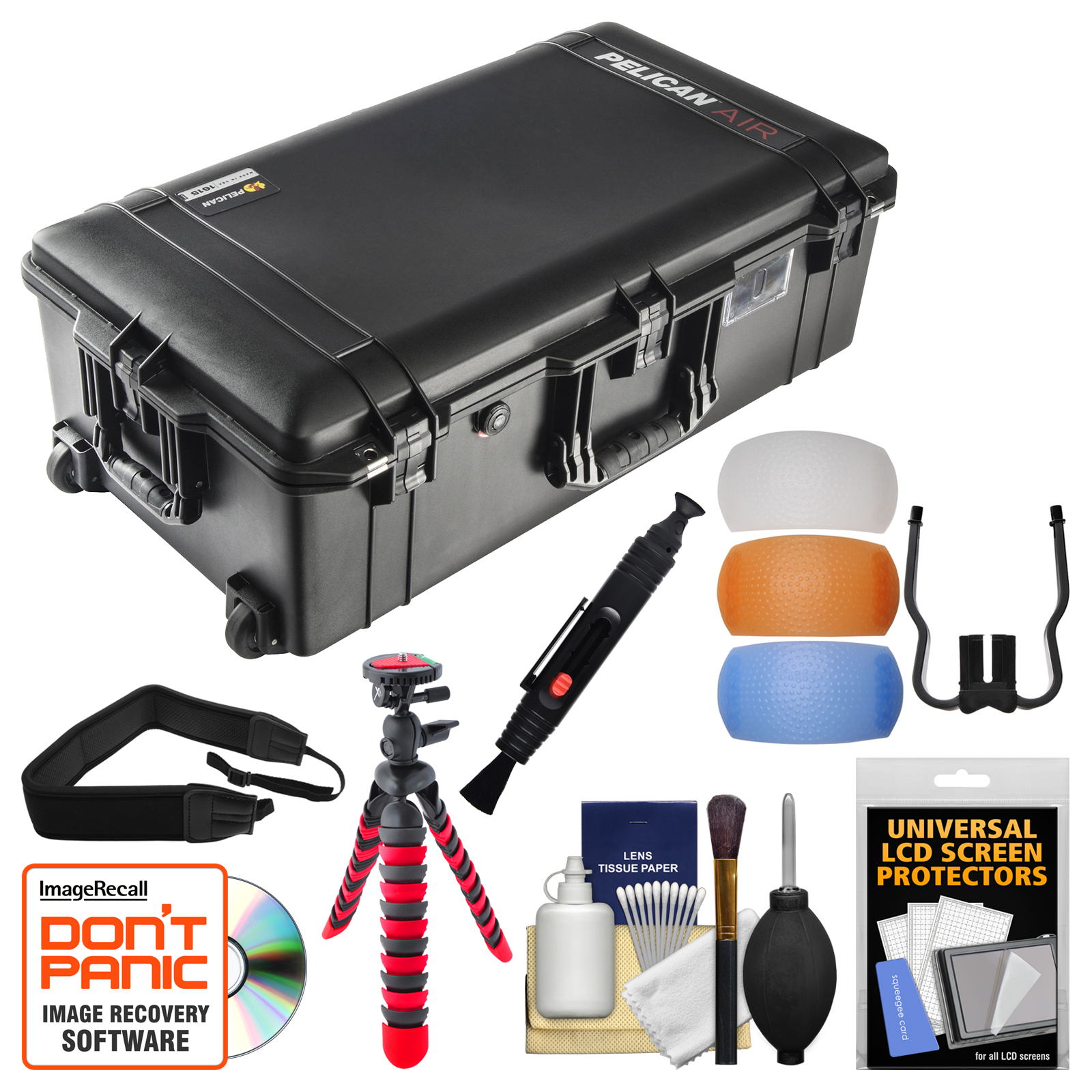 Pelican 1615 Air Protector Hard Case with TrekPak Divider System with Flex Tripod   Flash Diffuser Set   Strap   Kit
