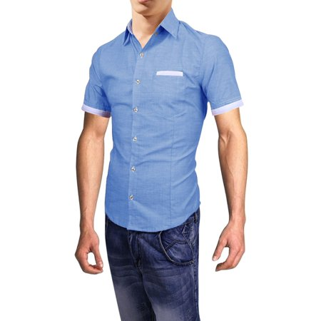Men's New Style Chest Patch Pocket Design Button Down Shirt (Size S / 36)