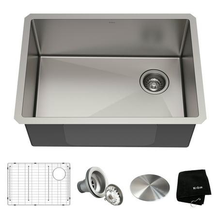 Undermount Stainless Steel Kitchen Sink (KRAUS Standart PRO™ 25-inch 16 Gauge Undermount Single Bowl Stainless Steel Kitchen Sink )