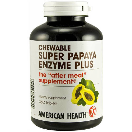 American Health Super Papaya Enzyme Plus Chewable Tablets, 360 CT