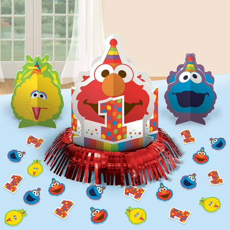 Elmo Turns One Table Decorating Kit - Elmo Party Decorations