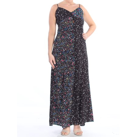 French Connection Button (FRENCH CONNECTION Womens Black Floral Button Front Spaghetti Strap V Neck Full-Length Shift Dress  Size:)