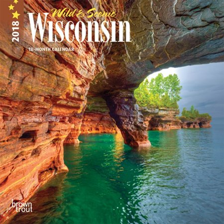 (2 Pack) Wisconsin, Wild & Scenic 2018 7 x 7 Inch Monthly Mini Wall Calendar, USA United States of America Midwest State -