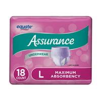 Assurance Incontinence Underwear for Women, Maximum, L, 18 Ct