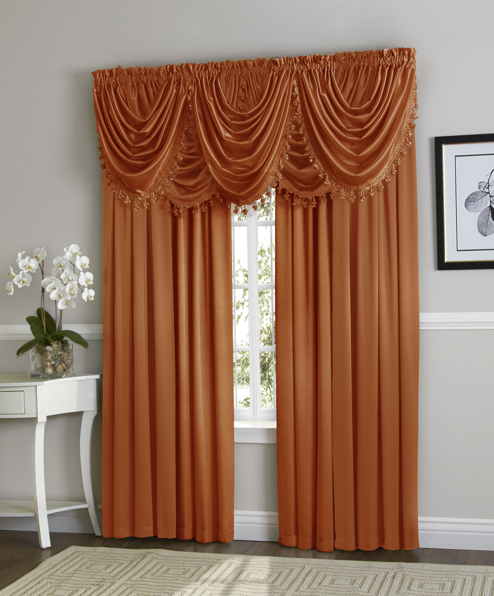 Hyatt Window Curtain & Fringed Valance Complete 9 Piece Window Treatment Set Spice by