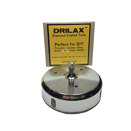 3/8 Inch Through Hole - Drilax 3-3/4 inch  Diamond Hole Saw Ceramic Porcelain Tile Glass Marble Granite Quartz Cutting Coated Circular Saw DIY Shower Kitchen Tool Drill Bit Tip Wet Drilling Core Grit 3 3/4 Inches in