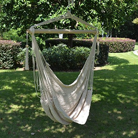 Strong Camel Hanging Swing Cotton Rope Hammock Chair Patio Porch Garden - Travel Hammock Tree Sling