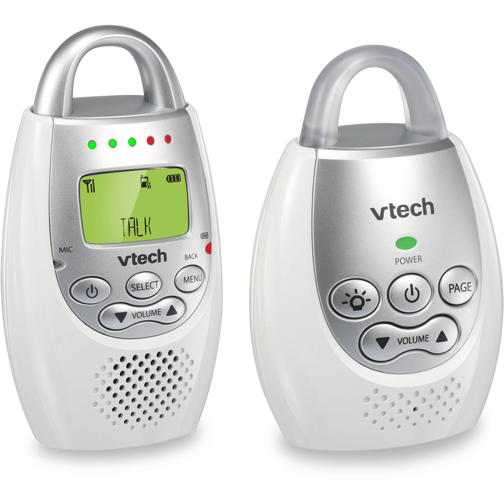 VTech DM221 Safe & Sound DECT 6.0 Digital Audio Baby Monitor with Vibrating Sound Alert, 1 Parent Unit, White/Silver