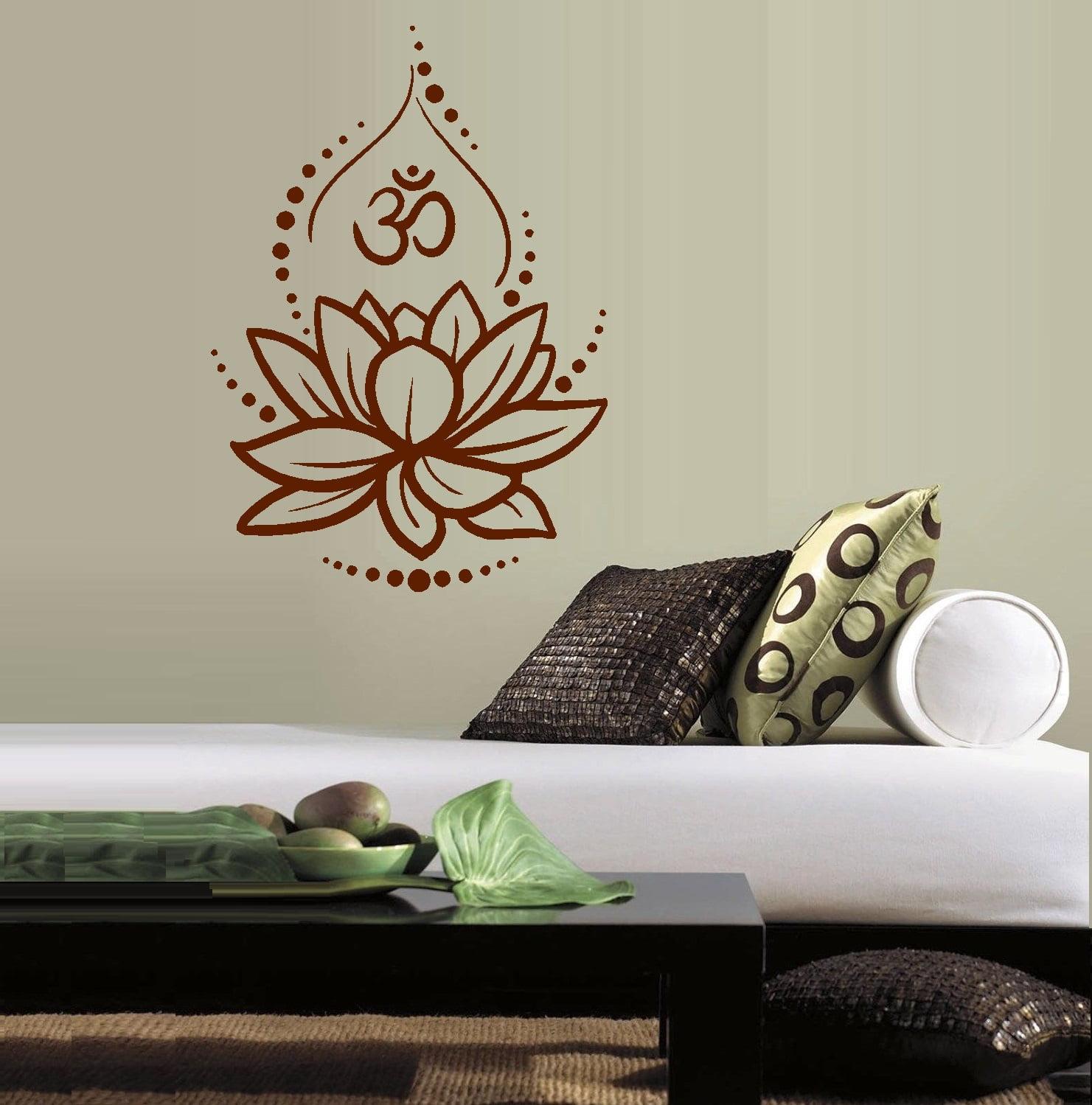"Lotus Flower OM Symbol: Wall Decal 20"" x 28"" Black"