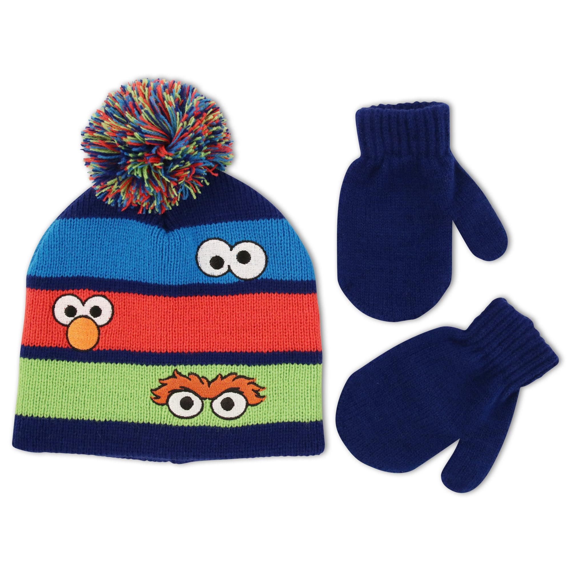 Personalized 2T - 5T Sesame Street Elmo Toddler Winter Hat /& Mitten Set