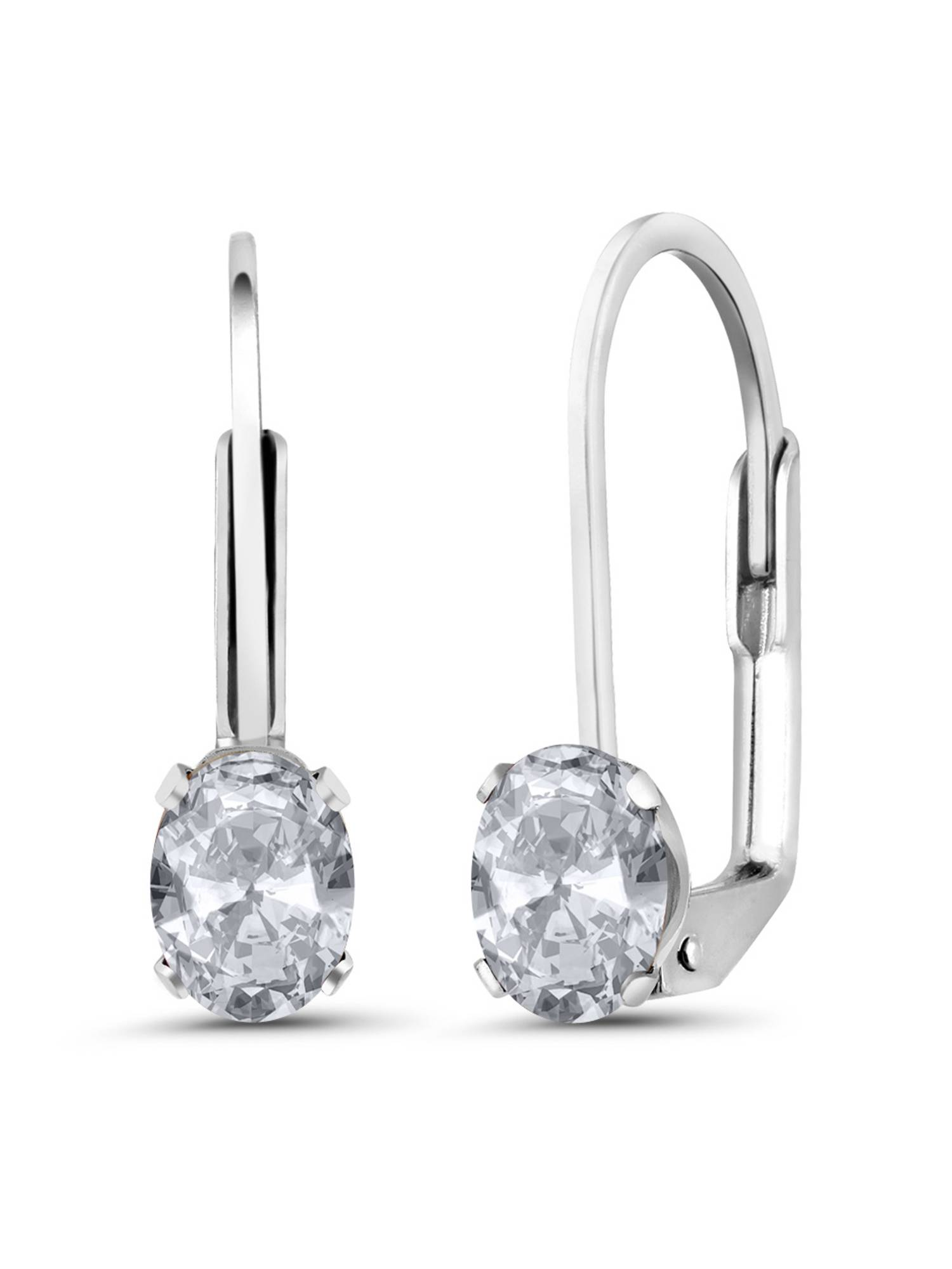 1.10 Ct Oval Shape White Topaz 925 Silver Stud Earrings
