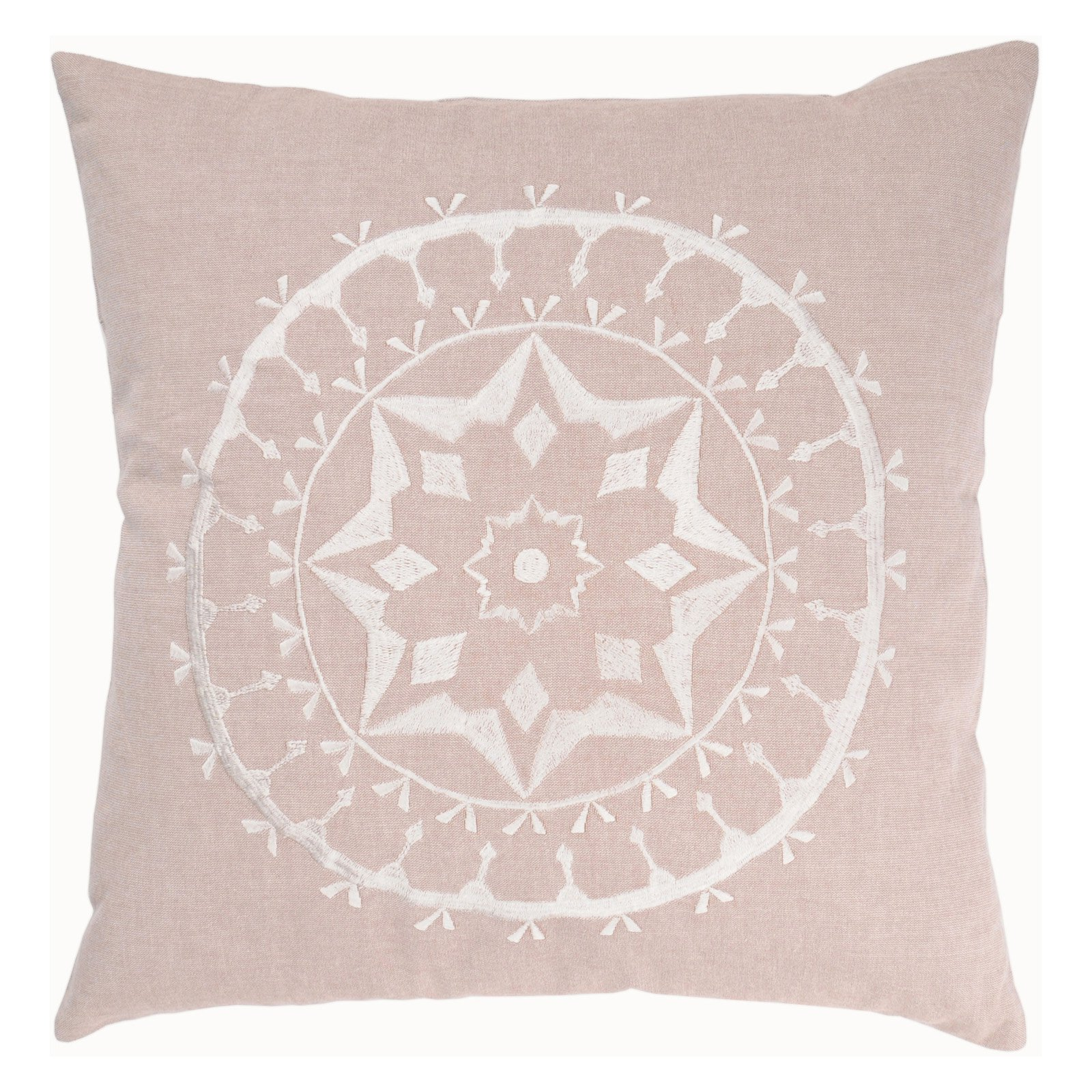 """Rizzy Home Decorative Poly Filled Throw Pillow Medallion 18""""X18"""" Light Blush"""