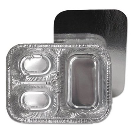 Durable Packaging 3-Compartment Oblong Aluminum Foil Container with Board Lid, 250/CT -DPK21035L250