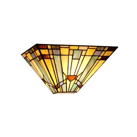 Mission Style Wall - Chloe Lighting Kinsey Tiffany-Style 1-Light Mission Wall Sconce, 12