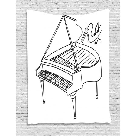 Music Note Tapestry, Monochrome Style Outline Drawing of a Piano on a Plain Background, Wall Hanging for Bedroom Living Room Dorm Decor, Charcoal Grey and White, by Ambesonne ()