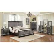 4pc Classic Bedroom set Tufted and Mirror Trimming (Bed, NightStand, Vanity  & Chest)