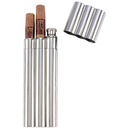 Maxam® 2oz Stainless Steel Flask with 2 Cigar