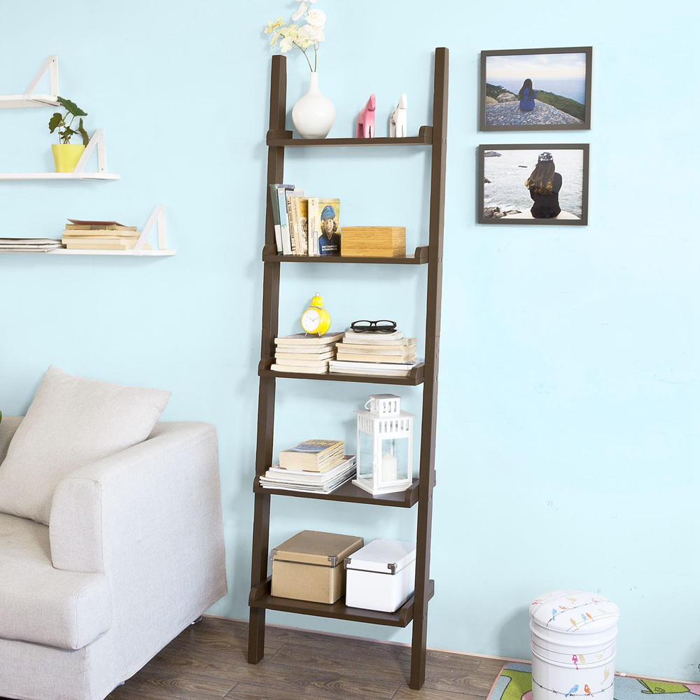 Haotian Leaning Ladder Book Shelf Made of Wood with Five Floors, Bookcase, wall shelf,FRG17-BR,Brown