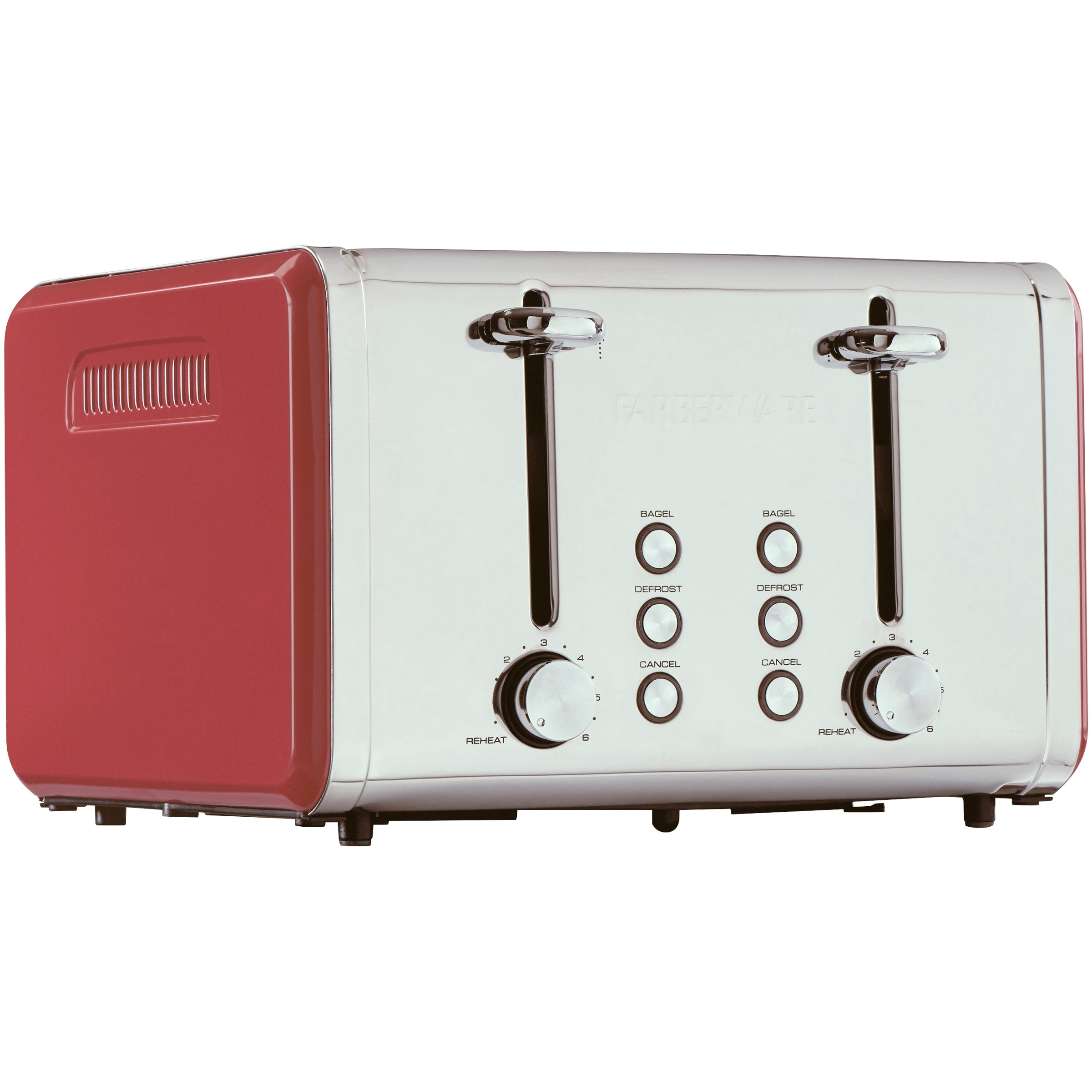 Farberware 4 Slice Red Toaster 3 Preset Functions with Removable Crumb Tray