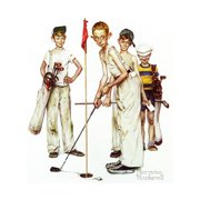 Four Sporting Boys: Golf Print Wall Art By Norman Rockwell