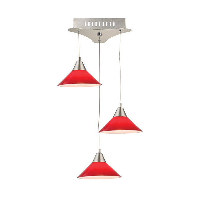 Alico Cono 3 Light LED Pendant in Satin Nickel with Red Glass - image 1 of 1