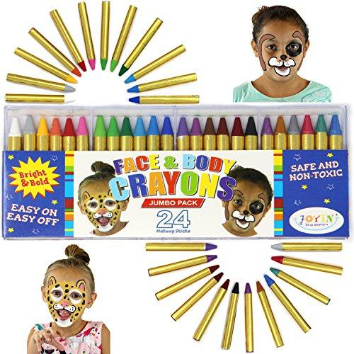 24 Colors Face Paint Safe & Non-Toxic Face and Body Crayons (Large Size 3') Ultimate Party Pack including 6 METALLIC Colors