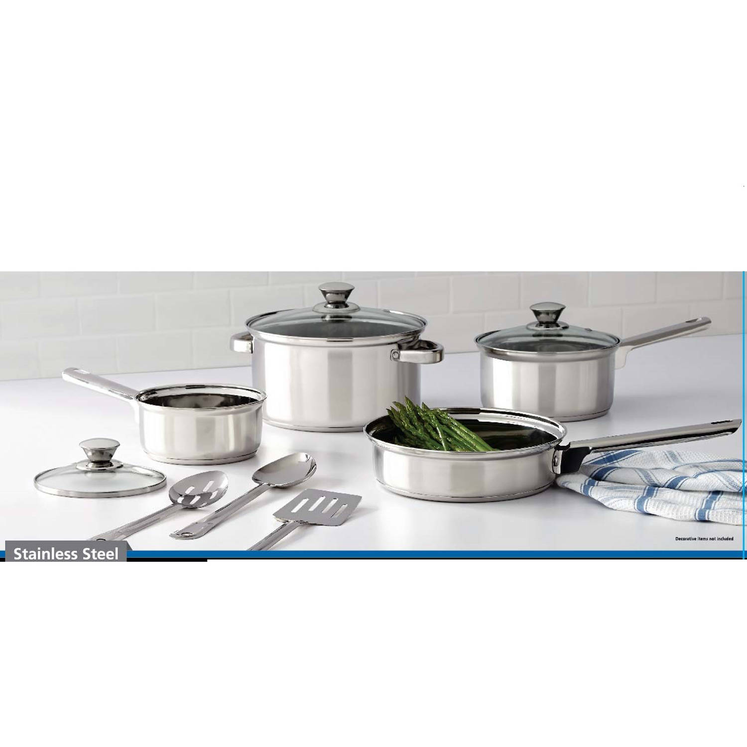 Mainstays 10-Piece Stainless Steel Cookware Set by MAINSTAYS
