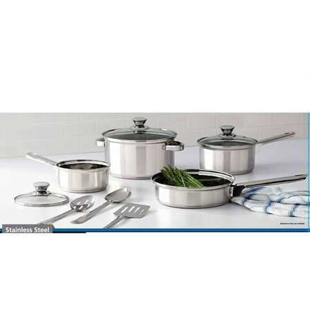 Mainstays Stainless Steel Cookware Set, 10 Piece
