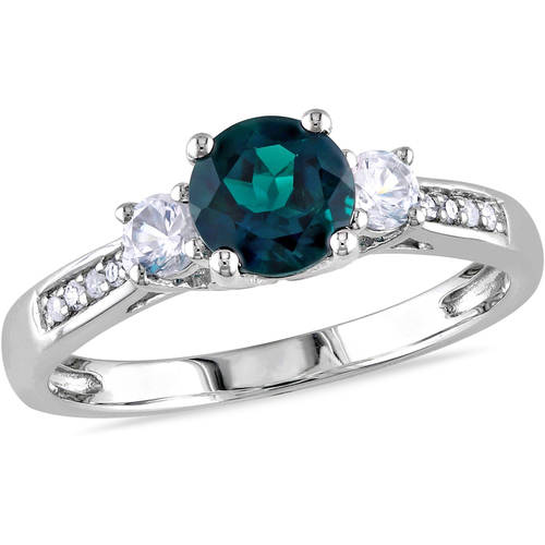 1-1/8 Carat T.G.W. Created Emerald, Created White Sapphire and Diamond Accent 10kt White Gold Three-Stone Ring