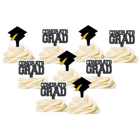 12pack Graduation Hat and Congrats Grad Graduation Hat CAke Decoration Toppers