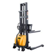 """APOLLOLIFT Semi Electric Pallet Jack Stacker Material Lift Straddle Leg 118"""" Lifting Height with Adjustable Forks 2200lbs Capacity"""