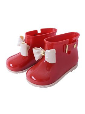 KidPika Toddler Baby Kids Shoes Girls Jelly Bowknot Waterproof Rain Shoes Mid Calf Rain Boots