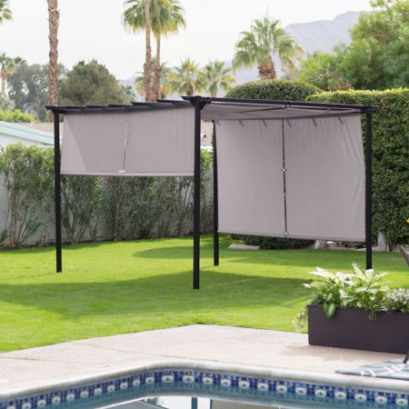 belham living steel outdoor pergola gazebo with retractable canopy shades. Black Bedroom Furniture Sets. Home Design Ideas