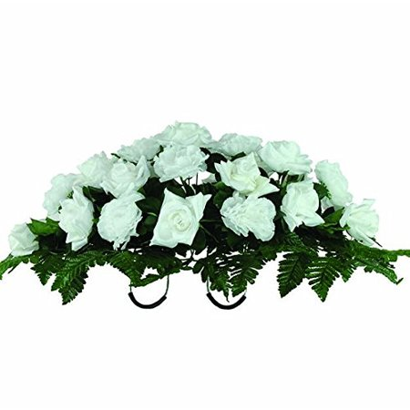 White Diamond Rose And Carnations Artificial Saddle Arrangement  Sd1626
