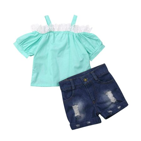 Kids Girls Short Sleeve T-shirt Top+Denim Shorts Boutique Outfits](Cute Kids Boutique)
