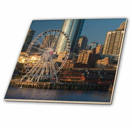 3dRose USA, Washington, Seattle. Seattle Great Wheel at Pier 57 in evening. - Ceramic Tile, 4-inch ()
