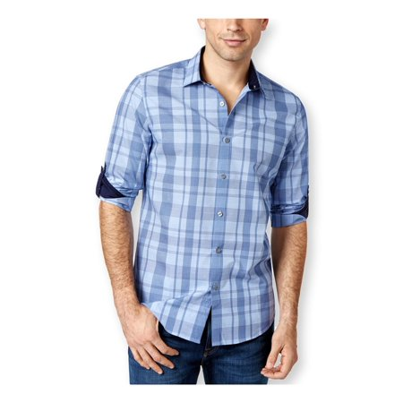 Alfani Mens Slim Fit Plaid Button Up Shirt chalkyslate M