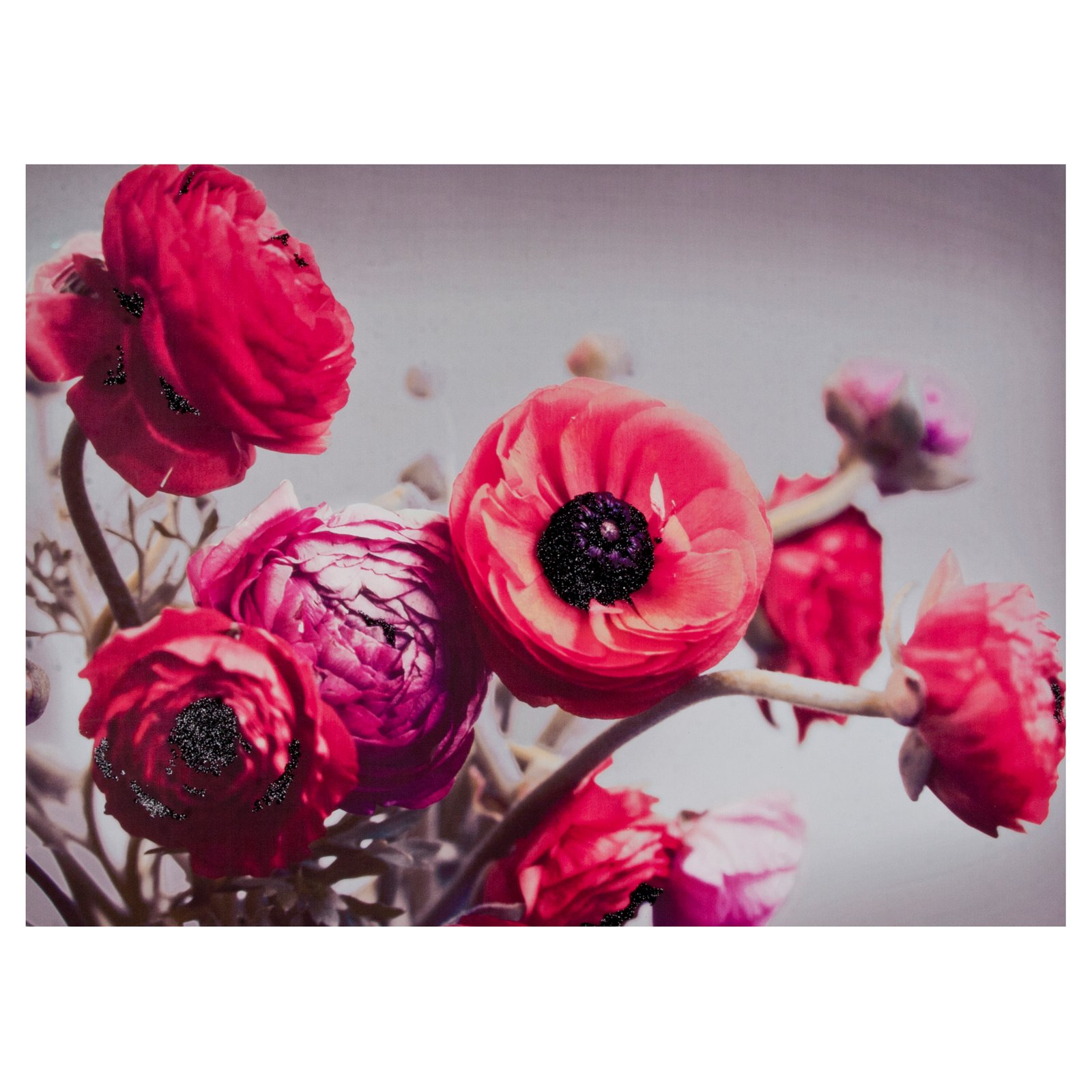 Bold Bouquet With Glitter Canvas Wall Art - 32W x 24H in.
