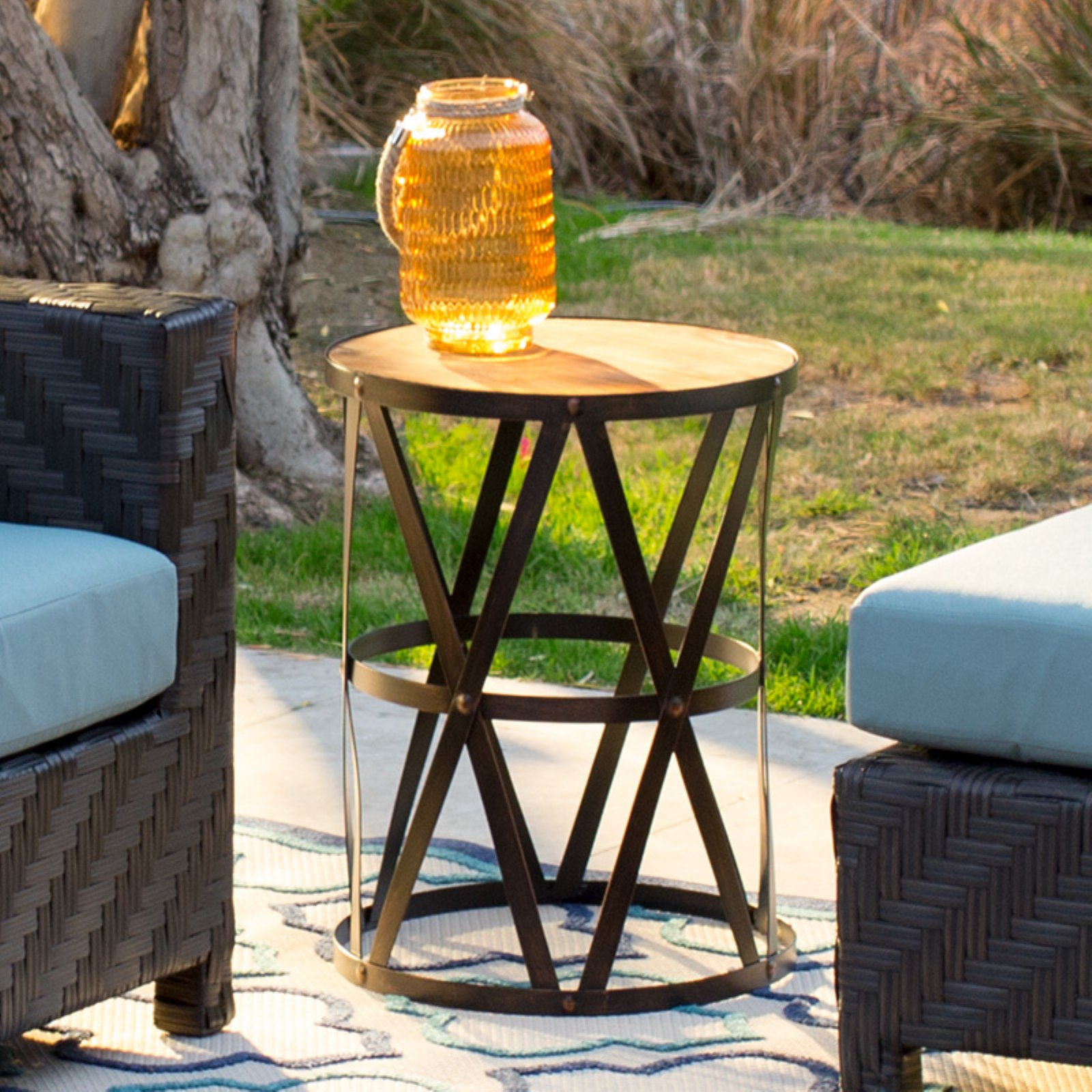 Coral Coast Sarah 17-in. Round Metal Patio Side Table with Wood Top by