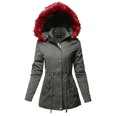 The North Face Fleece Parka - FashionOutfit Women's Hooded Warm Long Coats Faux Fur Fleece Lined Parka Outdoor Jackets