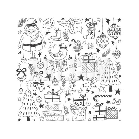 Vector Set of Hand Drawn Outline Christmas Illustrations. Clipart Collection with Santa Claus, Chri Print Wall Art By darijashka