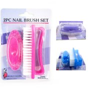 2 Pc Nail Cleaning Brush Set Manicure Pedicure Fingernail Salon Tool Bath Shower