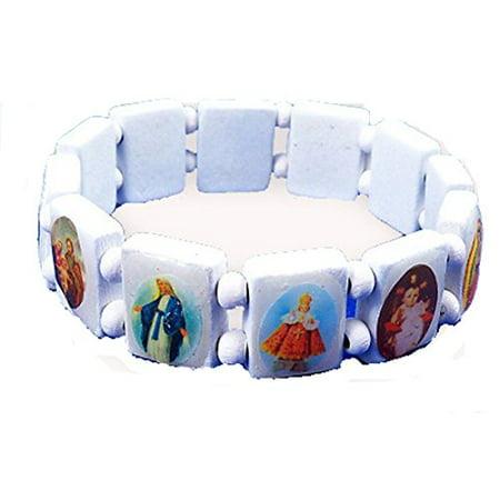 Saints Jesus White Bracelet Wooden with Beads Stretch (Jesus Saint Bracelets)