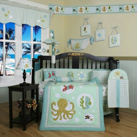 Geenny CRIB-CF-2047 Sea World Animals 13-Pc Baby Bedding Set