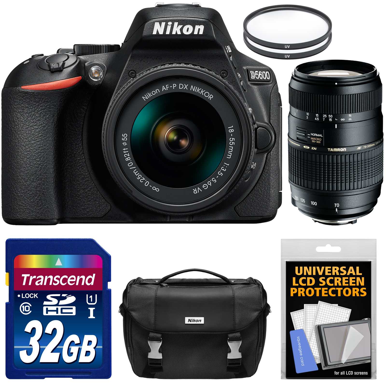 Nikon D5600 Digital SLR Camera & 18-55mm VR DX AF-P Lens Refurbished with Tamron 70-300mm Lens + 32GB Card +... by Nikon